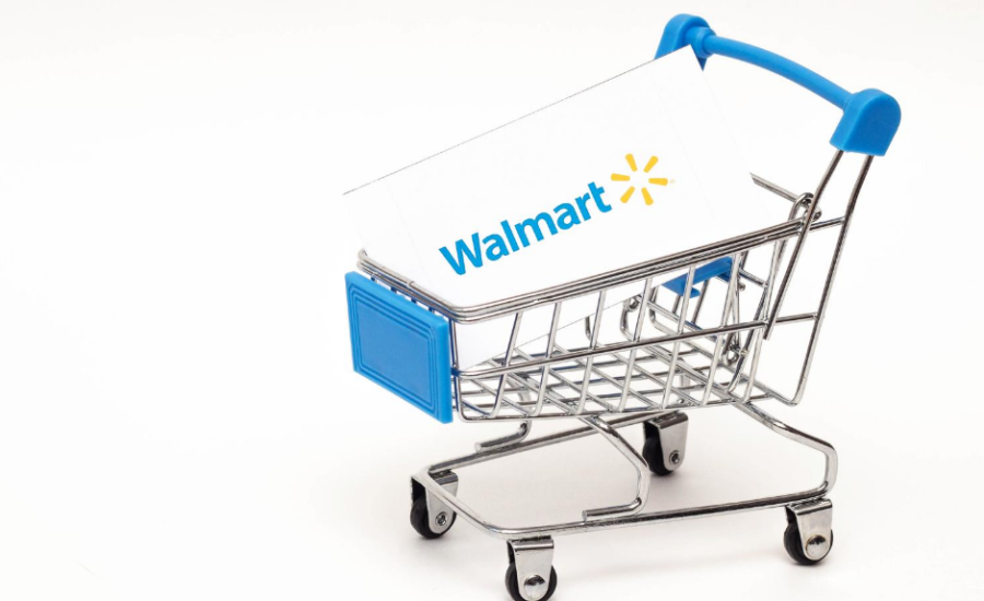 Walmart signage in shopping cart with blue trim